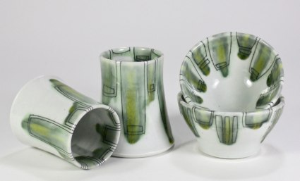 Reduction-fired porcelain, wheel thrown, Sizes vary, 2016