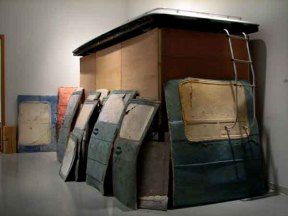 mixed media (ceramic, wood, GMC van roof, steal), variable size