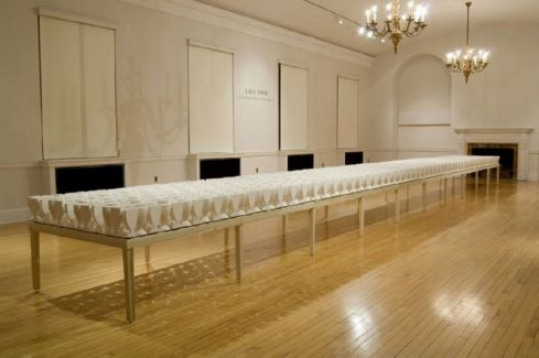"""2009. Porcelain, glass, poplar. 40' x 4' x 30"""" (variable), Photo Credit: Woody Packard"""