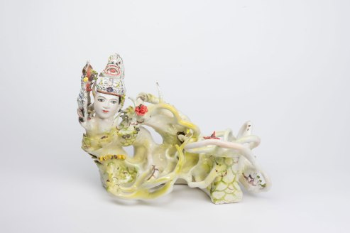 2018, 20 x 14 x 15 in, Glazed Hand built porcelain, casted and found object, cone 6, Gold luster