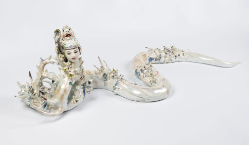 2018, 52 x 19 x 15 in, Glazed hand built porcelain, casted and found object, gold and mother of pearl luster, cone 6