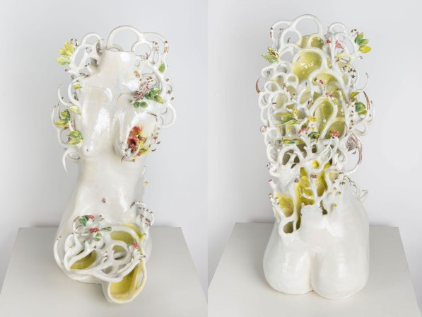 2018, 6 x 19 x 31 in, Glazed hand built porcelain, found object, cone 6 gold and mother of pearl luster