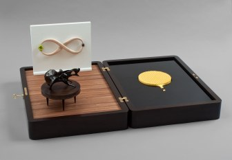 "Installation in a valise (an embarrassment of riches), 2014, walnut, maple, glazed ceramic, acrylic, wool felt, 72 x 80 x 11"""