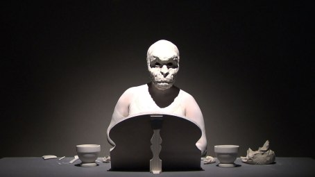 Video Still, 2011, Raw clay, Body paint, Mirror, Porcelain modeling tools