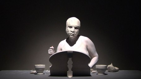Video Still, 2011, Raw clay, Body paint, Mirror, Slip-cast porcelain modeling tools