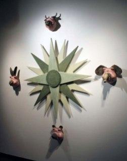 Stoneware, CNC-cut wood, 60 x 60 x 8in, 2014