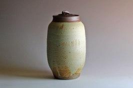 "white slip, ball clay & wood-ash glaze, 12"" x 6"""