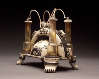 """Wheel thrown and hand built mid-range stoneware, terra sigillata, glaze, fired to Cone 6 oxidation, glass found object, copper wire, reclaimed element wires. 10.5"""" x 10.5"""" x 7.25"""". 2013"""