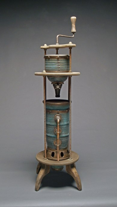 """Wheel thrown and hand built mid-range stoneware, glaze, fired to Cone 6 oxidation, wood, metal rod, copper pipe. 15"""" x 52"""" x 15"""". 2009"""