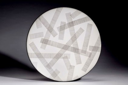 "Transparent, 2008, earthenware, glaze pencil, glaze, 21x3"""