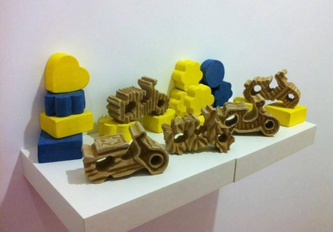 2016. Solid ceramic blocks, terrasigillata. Children's toy block size.