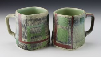 """Thrown and altered. Thrown and altered. Cone 5/6 white stoneware, underglaze, stain, glaze. 3.5"""" x 4"""" x 3"""". 2018"""