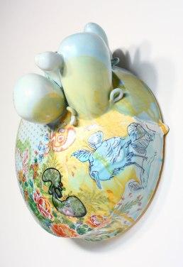 "2013, Porcelain with original silkscreened and vintage overglaze decals, Kutani raised enamels, 11"" x 11"" x 12"""