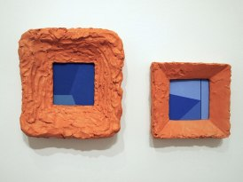 2016, detail, mixed media: fired terra-cotta, terra-sigillata, wood, and vinyl paint, (Frames with Images)