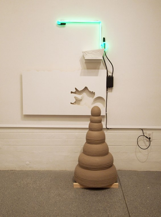 2014, mixed media: unfired clay, glazed porcelain, wood, paint, and neon light, 72x48x36