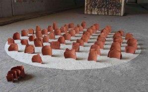 Installation, Earthenware clay, canvas, cement. 2012