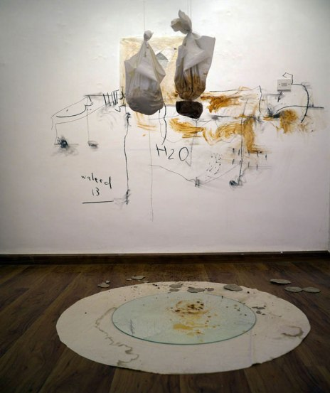 Installation, Jordanian mud, fabric, mirror, white wall, charcoal, slip. 2013