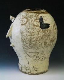 """9.5""""w x 18""""h x 9""""d (inch), Stoneware clay, glazes, fired cone 8, 2014"""