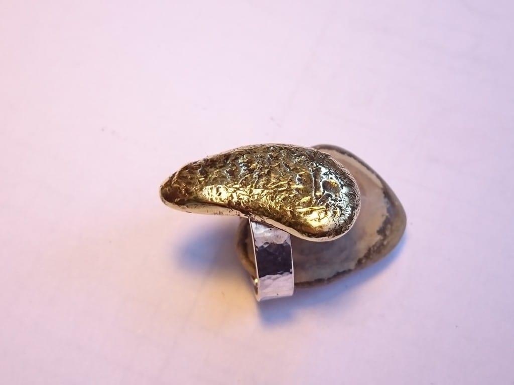 bague argent et bronze