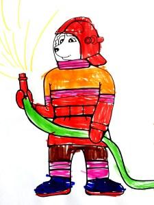 Детская раскраска. Хаски - храбрый пожарный.