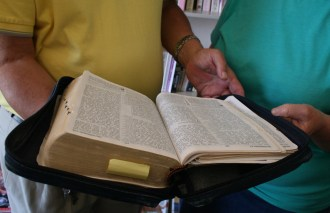 Carl-Heinz Queisser and Jennifer Linklater keep hold of their favourite book – the Bible.