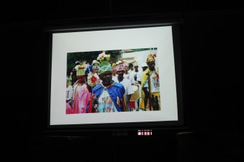 Pinto shows the different outfits in the northern parts of Brazil in his presentaton.