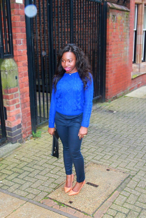zara orange pumps and cashmere conflower blue jumper artbecomesyou