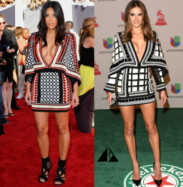 KIM KARDASHIAN OR ALESSANDRA AMBROSIO IN BALMAIN RESORT 2015 BEADED CAPE MINI DRESS