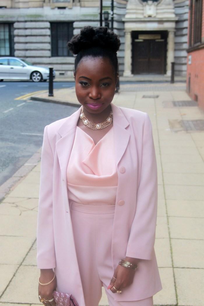blush pink nude trouser suit 14 b