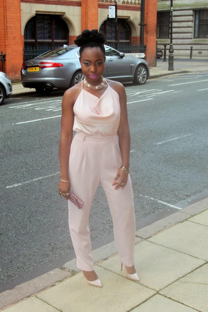 blush pink nude trouser suit 7 b