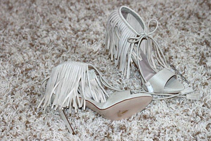 bloggers love zara fringe heels ecru