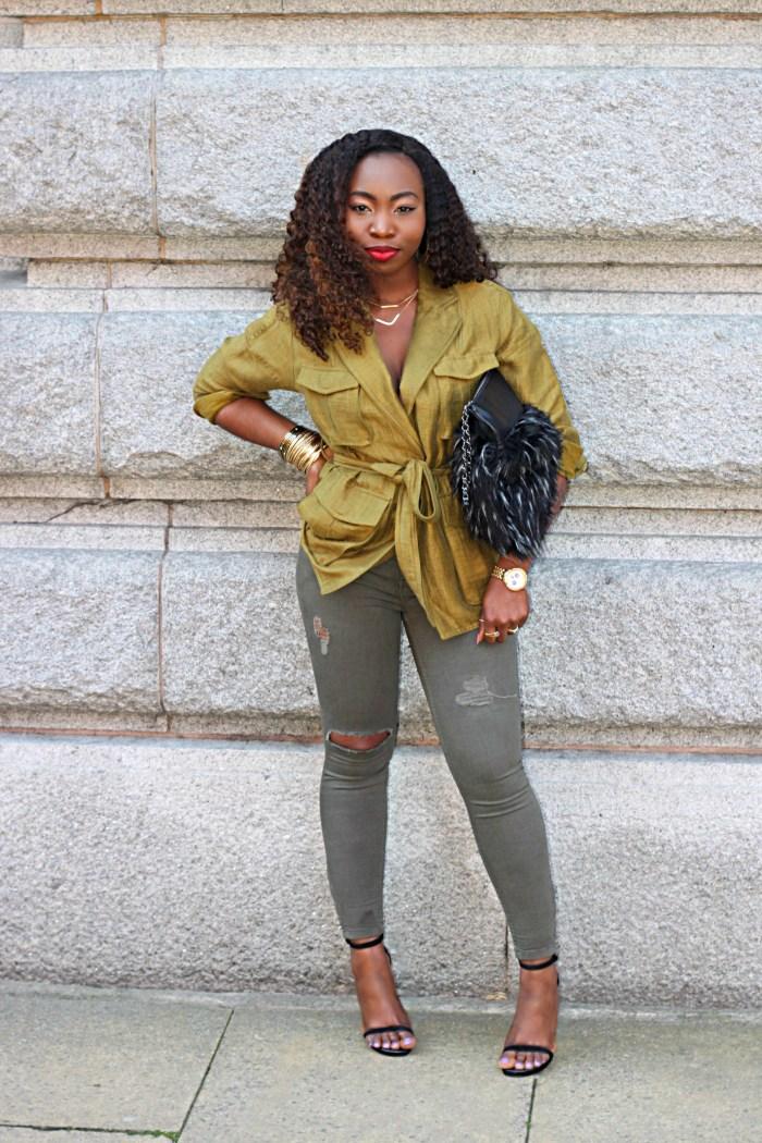 linen blend hm green jacket