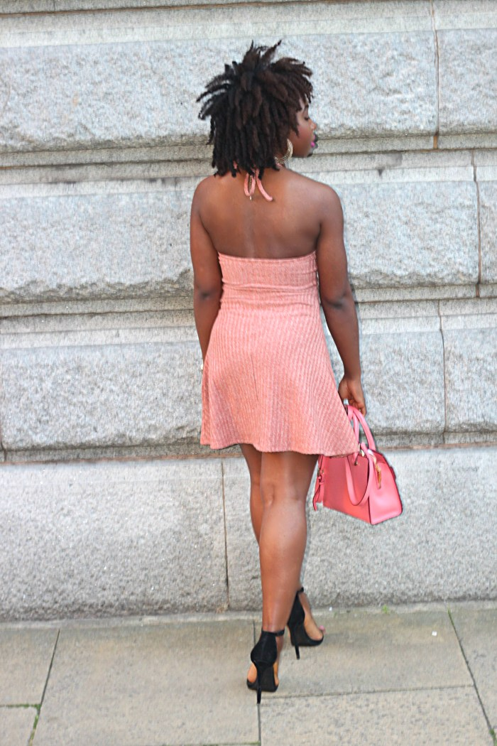 ribbed pink halter dress
