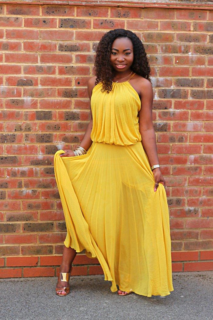 tonge mango yellow pleated dress