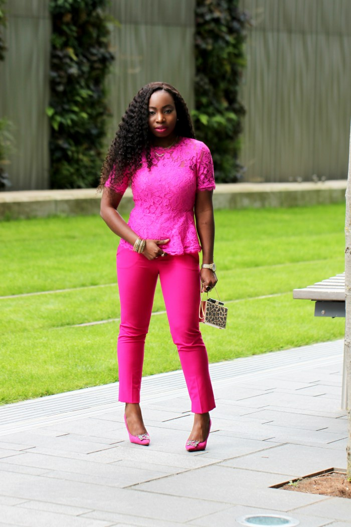 pink pant monochrome look a