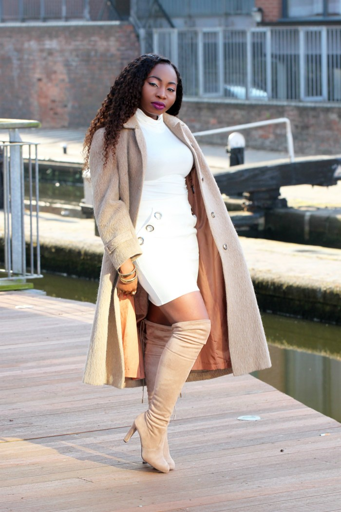 taupe over the knee boots outfit a