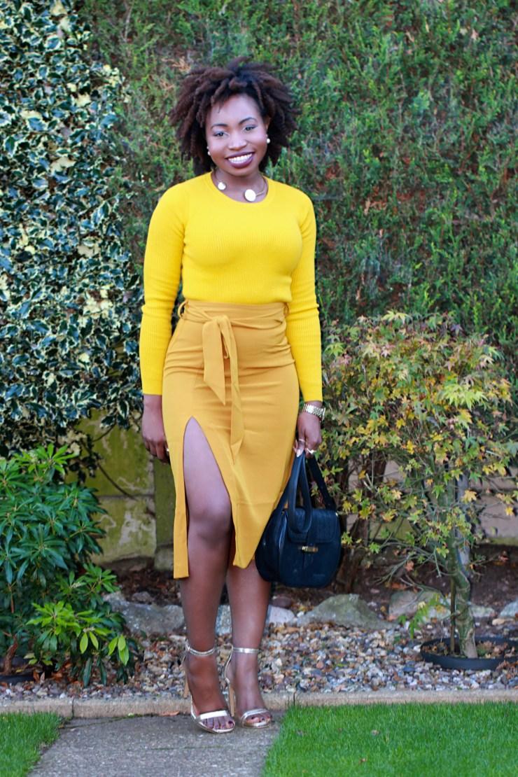 mustard asos skirt obi belt a