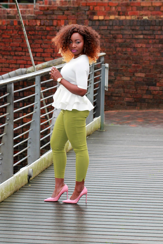 green ankle grazer cigarette pants a