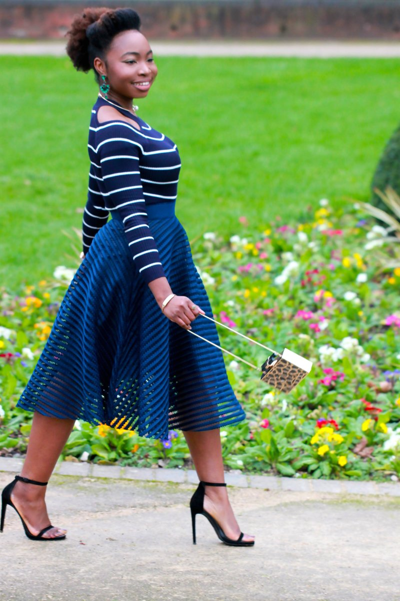 striped jumper overlay skirt a