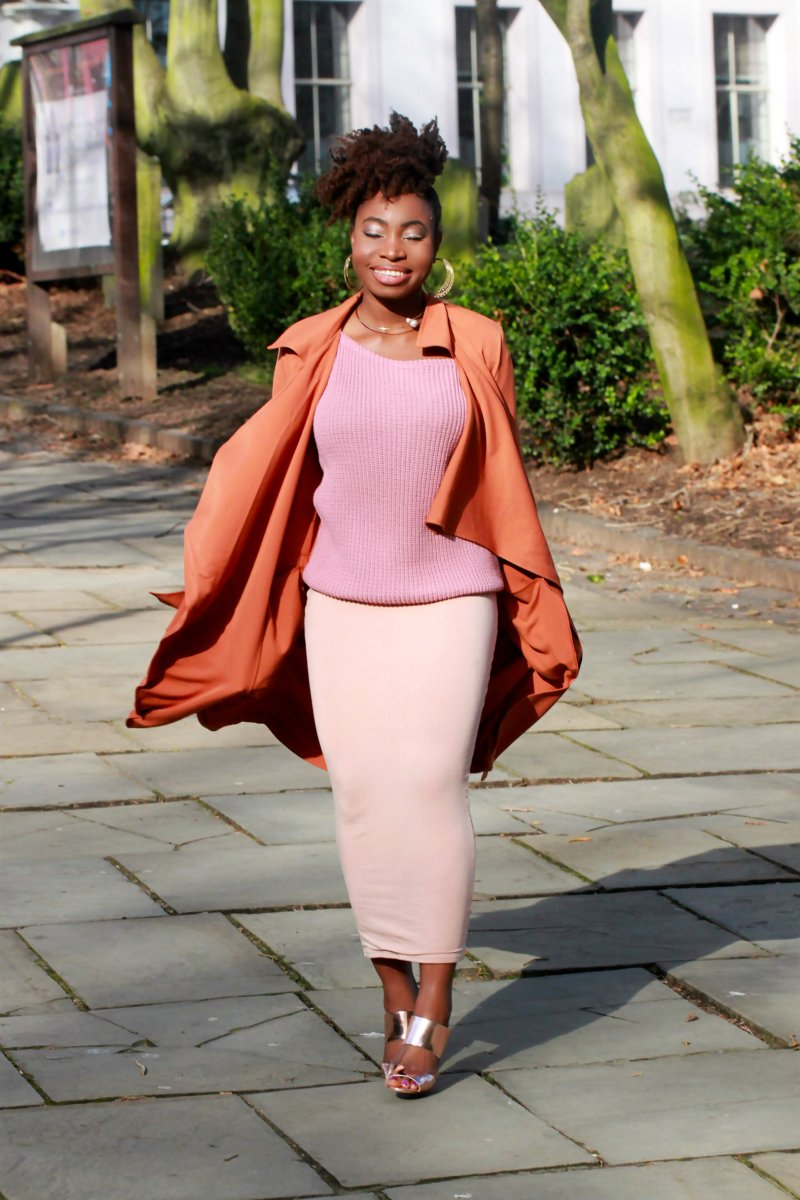 mauve outfit nude chunky jumper ootd a