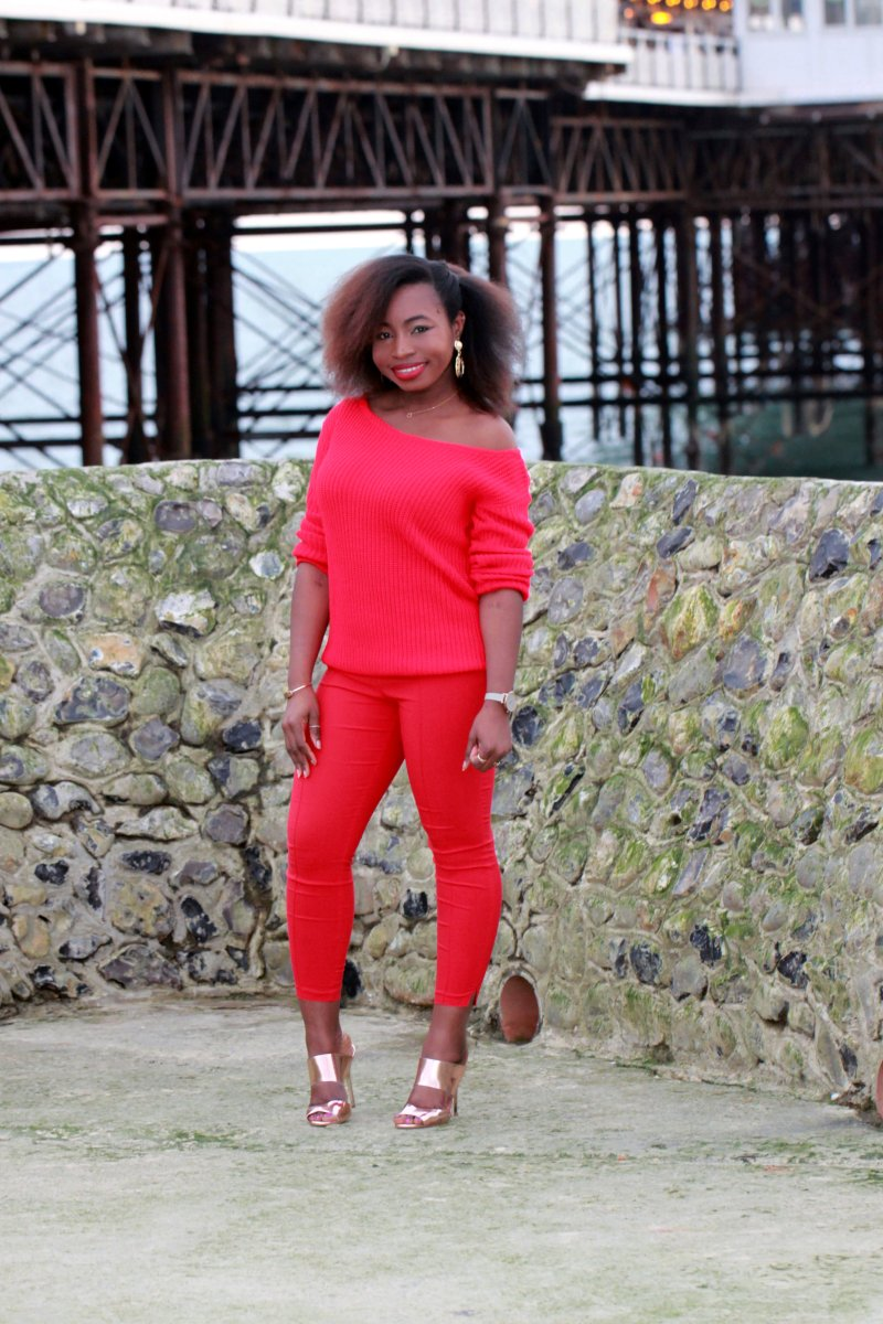 missguided chunky red jumper a