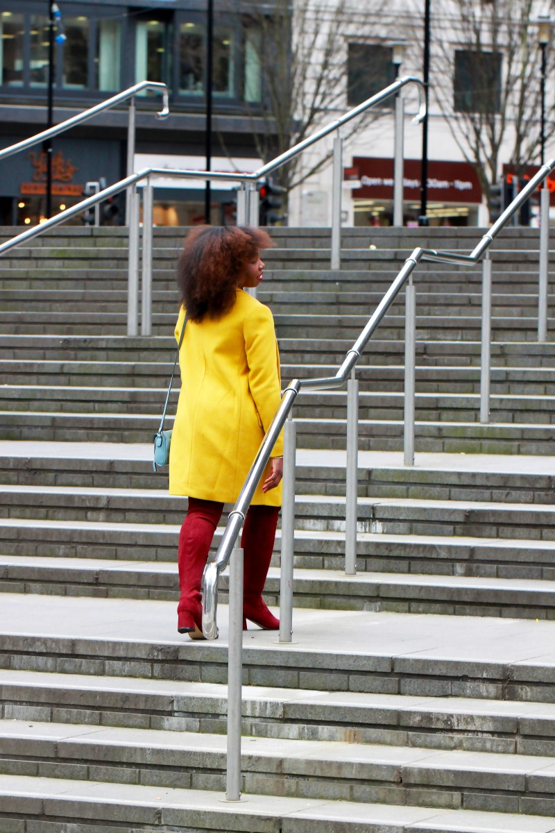 yellow coat afro black fashion