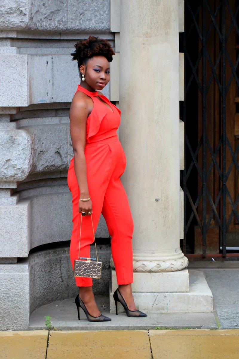 orange frill jumpsuit mesh heels ootd a