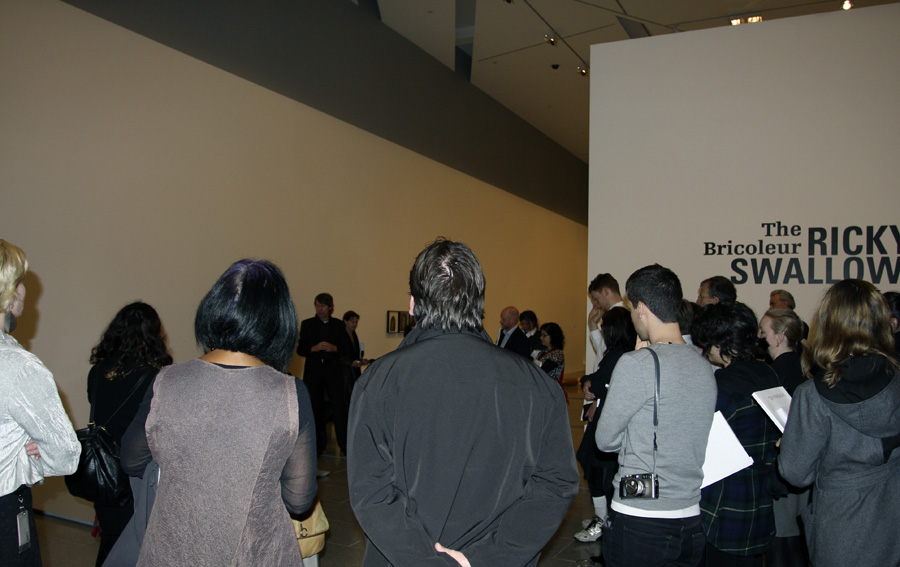 Media crowd at the Ricky Swallow exhibition 'The Bricoleur' at NGV Australia