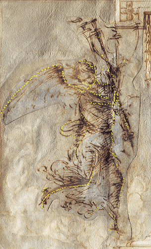An Angel Carrying a Torch, a cartoon by Filipino Lippi, reused by Giorgio Vasari. Holes that Filipino had pricked into the drawing to transfer the design are highlighted here in yellow.
