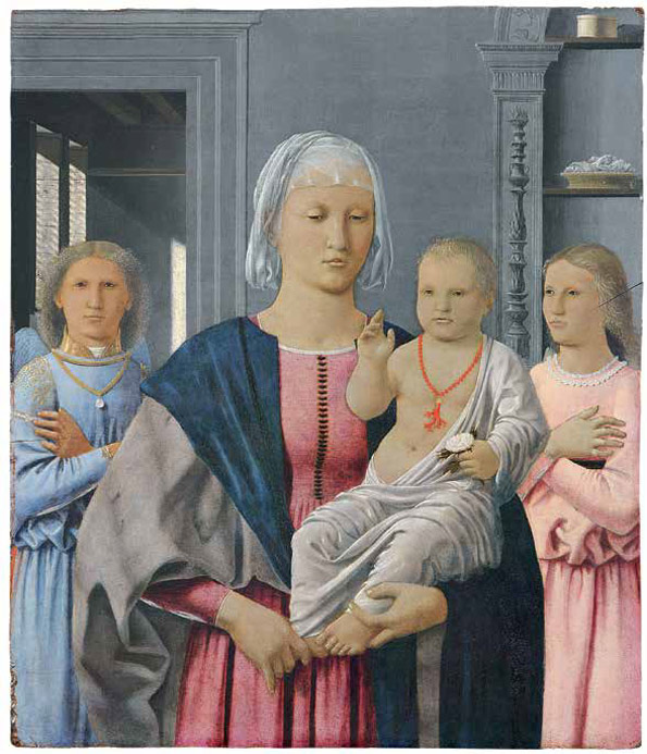 Piero della Francesca (Italian, ca. 1412–1492). Madonna and Child with Two Angels, ca. 1464–74? Tempera and oil on wood (walnut); 24 11/16 x 20 3/16 in. (62.7 x 51.6 cm). Galleria Nazionale delle Marche, Palazzo Ducale, Urbino
