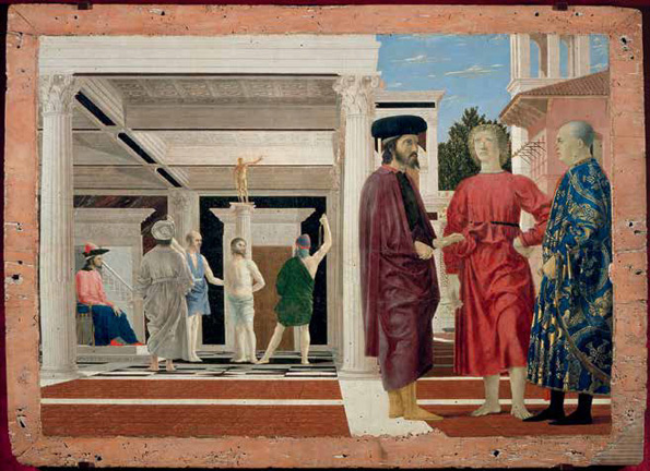 Piero della Francesca (Italian, ca. 1412–1492). The Flagellation of Christ, ca. 1455–60? Oil and tempera on panel; 23 x 32 1/8 in. ( 58.4 x 81.5 cm). Galleria Nazionale delle Marche, Palazzo Ducale, Urbino
