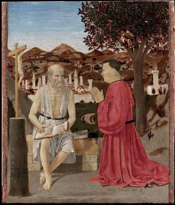 Piero della Francesca (Italian, ca. 1412–1492). Saint Jerome and a Supplicant, ca. 1460–64? Tempera and oil on wood; 19 1/2 x 16 1/2 in. (49.4 x 42 cm); painted surface: 19 1/2 x 15 1/2 in. (49.4 x 39.5 cm). Gallerie dell'Accademia, Venice