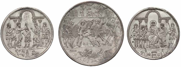 Plates with Scenes from the Life of David: Byzantine, Constantinople, 629 – 30 Silver, cast, hammered, engraved, punched, and chased (from left to right): Samuel Anoints David Diam. 26.6 cm ( 10 ½ in. ); 1,334 g; David and Goliath Battle Diam. 49.4 cm ( 19 7/16 in. ); 5,780 g; David Appears before Saul Diam. 27.2 cm ( 10 11/16 in. ); 1,397 g