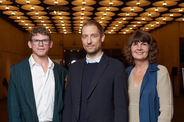Whitney Biennial 2014 curators (left to right):  Anthony Elms, Stuart Comer, Michelle Grabner; Photo Filip Wolak; courtesy Whitney Museum of American Art.